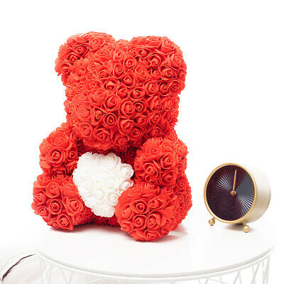 Weihnachtsgeschenk Rose Bear Flower Wedding Party Love Teddy 40cm Rot Herz