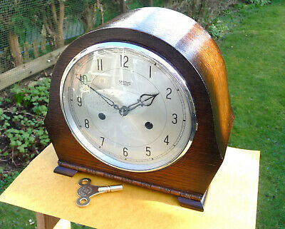 Vintage restored 1950s Smiths Enfield striking mantle clock with  brass key.