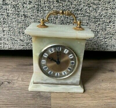 Vintage Azizoff Quartz Onyx Marble Clock- Made In England- French Style
