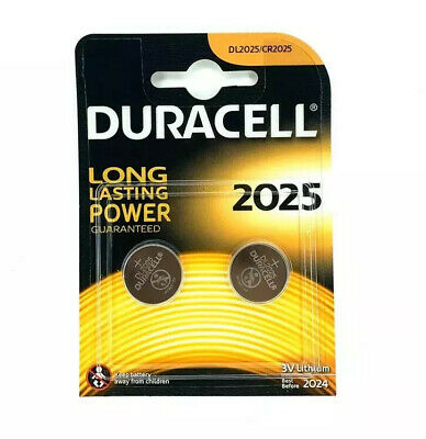 2 X Duracell CR2025 3V Lithium Coin Cell Batteries DL2025 BR2025