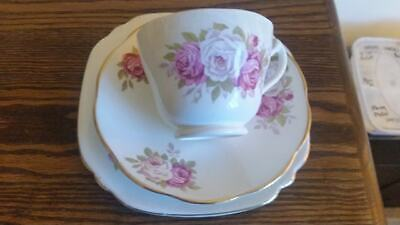 Pink rose pattern bone china tea cup, saucer and side plate trio (1)