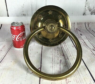 Huge Rare Antique Victorian Lone Star Salvage Vintage Door Knocker Solid Brass