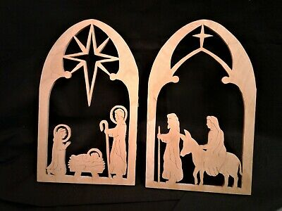 2 Vintage Hand Made Maple Wood Scroll Saw Cut Nativity Pictures Signed Folk Art