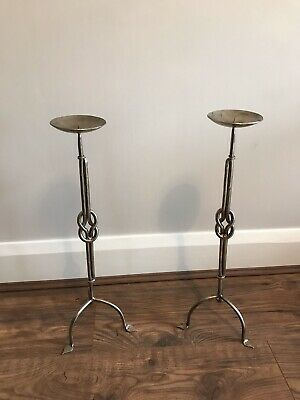 Pair of Large Pewter Metal Candle Stick Holders decorative stands candel