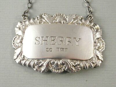 Good Modern Sterling Silver DECANTER / WINE LABEL - Sherry. London 1984