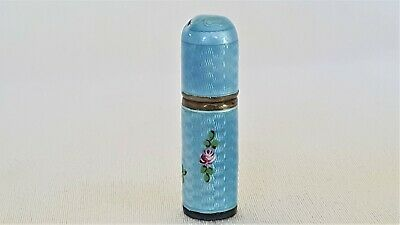 Antique Sterling & Blue Guilloche Perfume Bottle or Powder Dispenser compact