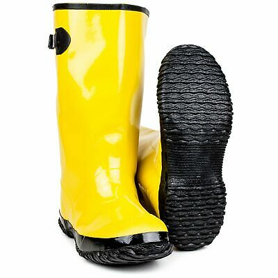 "Yellow 17"" Slush Over-the-Shoe Boot 100% natural rubber Adjustable Strap"