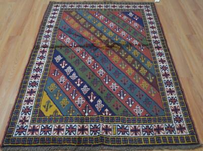 3'8 x 5'9 Fine Geometric Hand Knotted All Wool Area Rug 4 x 6 Nomadic Carpet