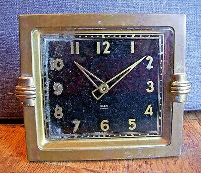 Antique Art Deco Brass Cased Square Glen Wind Up Mantel Clock (Scottish Time)