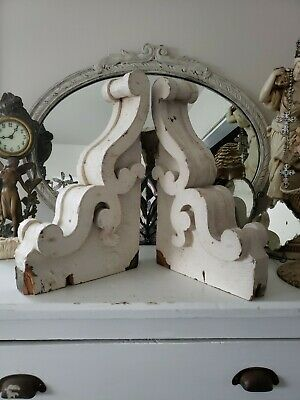 WOW~ PAIR Large 1800's Antique Wood CORBELS Scrolly  Ornate 16x10