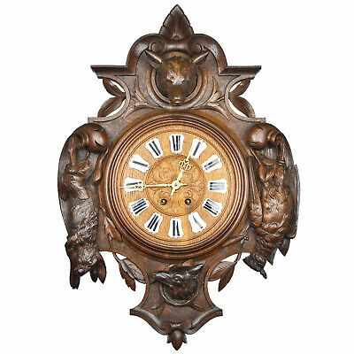 XL Antique BLACK FOREST Wood Carved Wall Clock