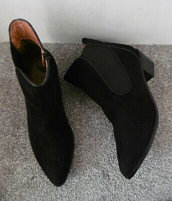 Evans Black ARIA Low Heel Ankle Boots Size UK 8 EU 41 EEE Extra Wide Fit