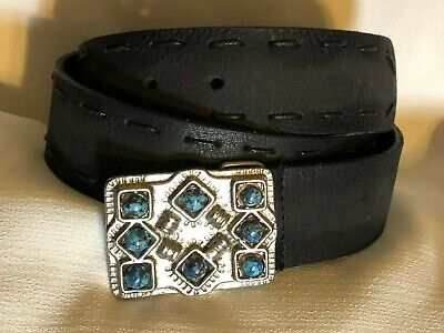 Genuine Leather Belt Black Stich Design Silver Tone & Turquoise Buckle Meduim M