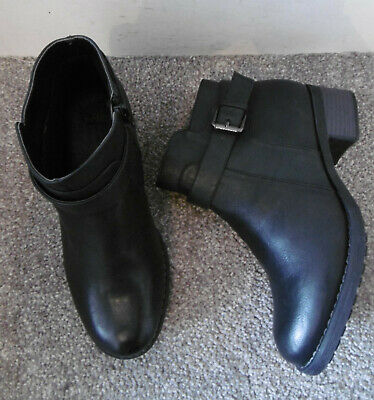 Evans Black AUGUST2 Strap Ankle Boots Size UK 4 EU 37 EEE Extra Wide Fit
