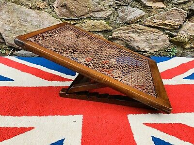 19thC Rosewood and wicker Adjustable Gout leg rest or Stool by Alfred Carter