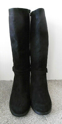 Evans Black LATTE Buckle Long Rider Boots Size UK 10 EU 43 EEE Extra Wide Fit