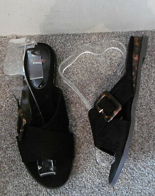 Evans Black NASH Cross Over Mule Flat Sandals Size UK 9 EU 42 EEE Extra Wide Fit