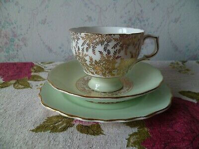 Vintage Royal Vale China Trio Tea Cup Saucer Plate Pastel Green Gilded Chintz