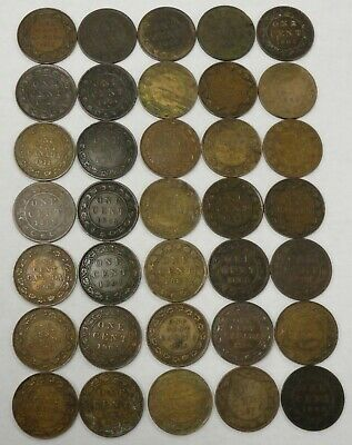 35 coin LOT of circulated Canada large cents, #67628