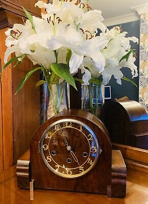 Art Deco Flame Mahogany cased Westminster Chime 8 day mantle clock By Kienzle