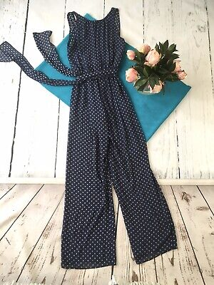 Zara blue sheer polka dot wide leg jumpsuit 8 small backless sleeveless tiewaist