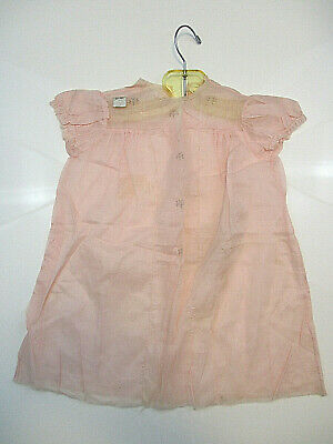 Antique Infant Girls Dress Nightgown Pink CROWLEY MILNER & CO Detroit Hanger New