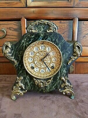 Ansonia Antique Victorian Faux Marble Cast Iron Mantle Clock, ALL Original,...