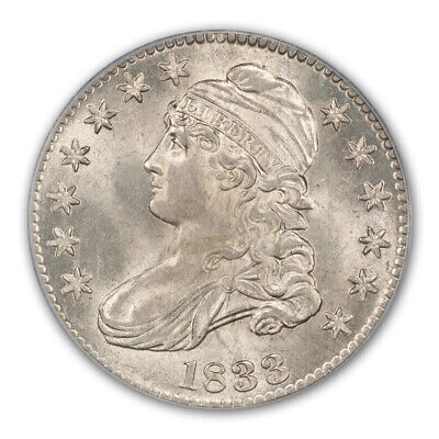 1833 50C Capped Bust Half Dollar PCGS MS64+ (CAC)