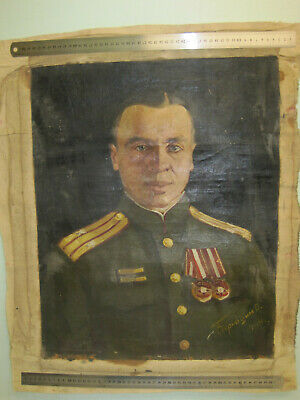 Picture. Portrait. Painting. Oil. Canvas. World War II. Order, Medal.