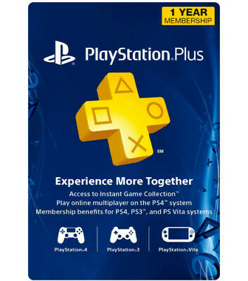PlayStation Plus 1 Year Membership Subscription *US REGION* PS4, PS3, PS Vita