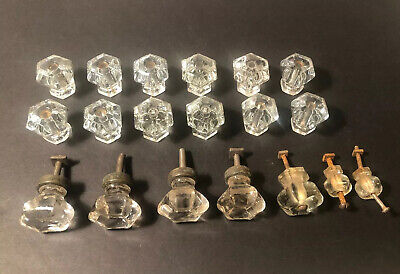 Lot of 19 Vintage Clear Glass Drawer Cabinet Pulls Knobs ~ Different Sizes