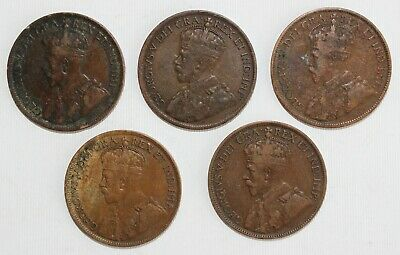5 Coin Lot 1916-1919 Canada Large Cent Coins 1c Canadian Bronze Coins You Grade