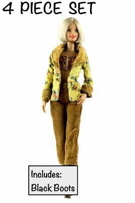 New Barbie doll clothes 4 piece outfit jacket pants top boots.
