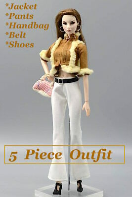 New Barbie doll clothes 5 piece outfit jacket pants belt handbag shoes