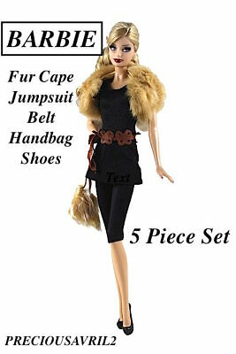 New Barbie doll clothes 5 piece outfit jumpsuit fur cape bag shoes belt clothing