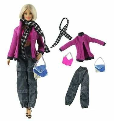 New Barbie doll clothes 6 piece outfit jacket pants top boots scarf