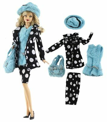New Barbie doll clothes 6 piece set outfit jacket skirt top shoes hat handbag