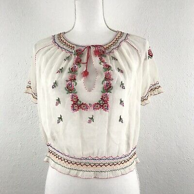 Vintage 1930s Hungarian Peasant Blouse XS/S Crepe Floral Embroidered Sheer