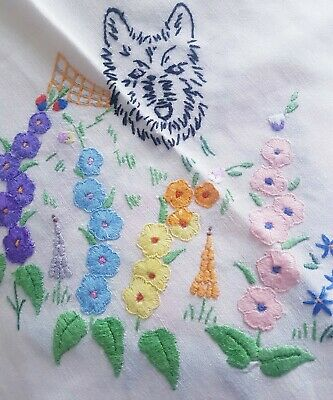 Sweet Vintage EMBROIDERED Scottie Dogs in Cottage Garden HOLLYHOCKS Tablecloth