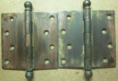 """Mortise Door Ball Tip Hinges 4-5/16"""" Square Aged Copper Plated Antique Pair 2"""