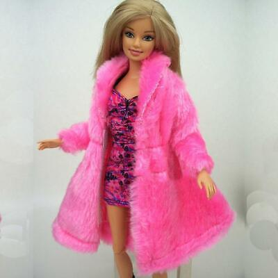 New Barbie Doll Clothes  coat clothing jacket outfit pink faux fur coat winter