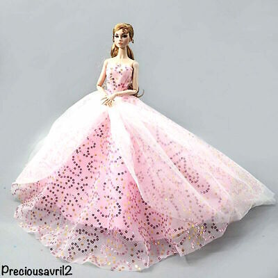 New Barbie doll clothes outfit princess wedding dress pink sequin gown
