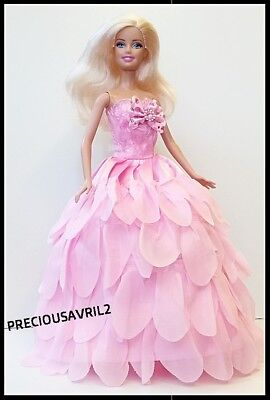 New Barbie doll clothes outfit princess wedding dress pink petal dress.