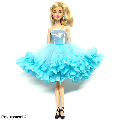 New Barbie doll clothes outfit princess wedding dress gown blue fluffy dress