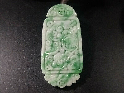 Chinese hand-carved delicate natural Myanmar Jadeite A oval shape pendant