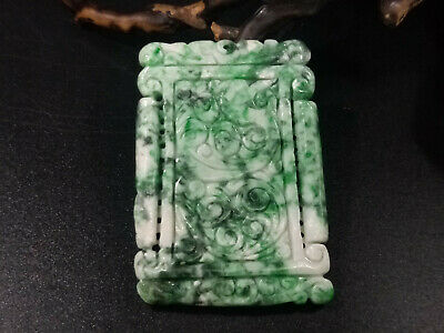 Chinese hand-carved delicate natural Myanmar Jadeite green Square shape pendant