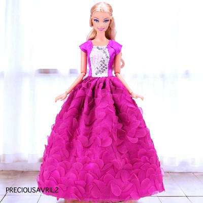 New Barbie doll clothes outfit wedding purple petal evening dress gown