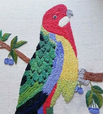 Vintage Hand Embroidered Picture Panel Stunning Vibrant Australian Rosella