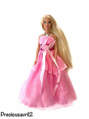 New Barbie Doll Clothes evening wedding pink fully lined dress gown