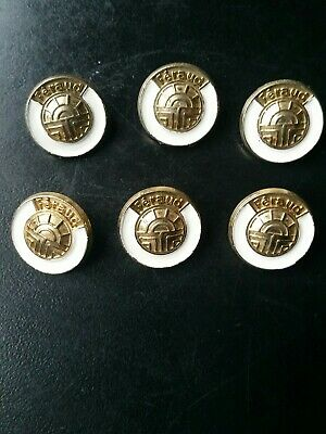 Vintage Louis Feraud Jacket Dress Buttons Gold White Enamel 80s French Set of 6